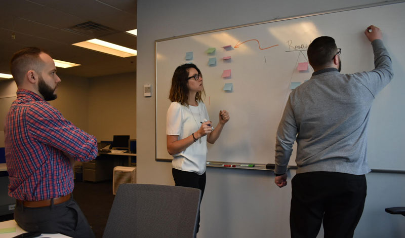 Team working on a whiteboard