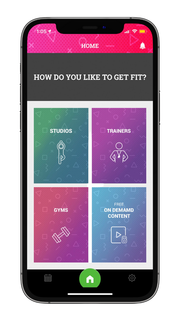 Smart phone with 3 types of workouts